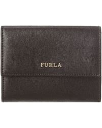 Furla Saffiano Black Small Flapover Purse - Lyst