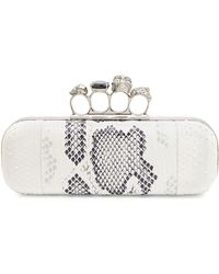 Alexander McQueen Python Long Knuckleduster Clutch Bag - Lyst