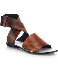 Proenza Schouler Leather Crossover Ankle Strap Sandals - Lyst