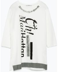 Zara 3/4 Sleeve Blouse With Embellished Neckline - Lyst