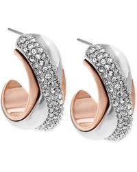 Swarovski Wave Two-tone Hoop Earrings - Lyst