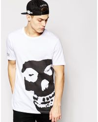 Asos Longline T-Shirt With Misfits Print And Skater Fit - Lyst