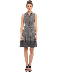 Calvin Klein Printed Sleeveless Belted Shirtdress Cd4h9tyf - Lyst