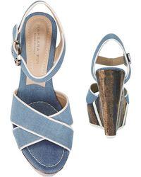 Barbara Bui - Exclusive Glazed Wood Denim Wedge - Lyst