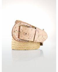 Ralph Lauren Stretch Cork-Effect Belt beige - Lyst
