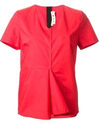 Marni V-neck T-shirt - Lyst