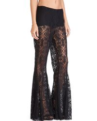 Anna Sui Birds Print Flare Pants - Lyst