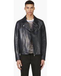 Valentino Navy Biker Jacket - Lyst