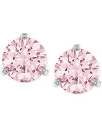 Swarovski Silver-Tone Pink Crystal Stud Earrings pink - Lyst