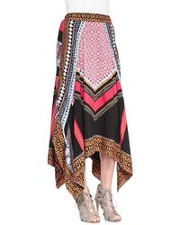 Free People Mixed-print Charmeuse Handkerchief Skirt - Lyst
