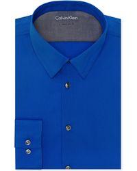 Calvin Klein X Extra-slim-fit Deep Blue Solid Dress Shirt - Lyst