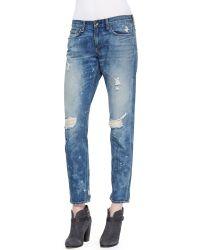 Rag & Bone Distressed Denim Boyfriend Jeans - Lyst