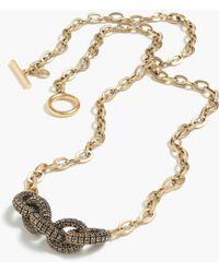 J.Crew Pavé Chainlink Pendant Necklace - Lyst