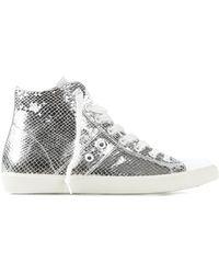 Leather Crown Metallic Hi-Top Sneakers - Lyst