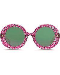 Matthew Williamson X Linda Farrow Python Print Round Frame Sunglasses multicolor - Lyst