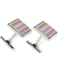 Duchamp Enamel Striped Cufflinks Multi - Lyst