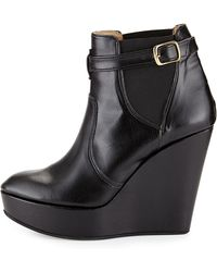 Dee Keller - Tina Leather Buckled Wedge Bootie - Lyst