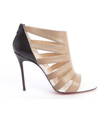 Christian Louboutin Beige and Black Cutout Leather Open Toe Heel Booties - Lyst