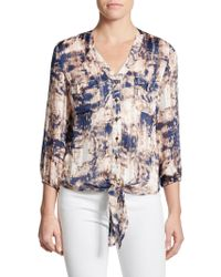 Saks Fifth Avenue Black Label Printed Tie-Front Blouse - Lyst