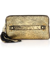 Milly | Astor Metallic Pebbled Leather Clutch | Lyst