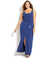 Michael Kors Michael Plus Size Sleeveless Belted Maxi Dress - Lyst