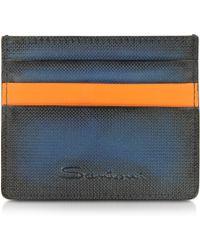 Santoni - Blue Leather Card Holder - Lyst