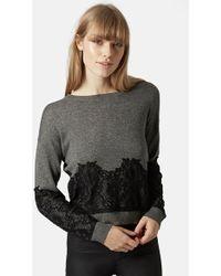 Topshop Women'S Lace Applique Sweater - Lyst