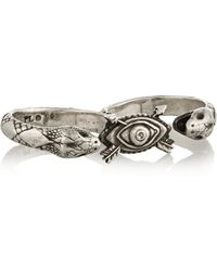 Pamela Love Duel Sterling Silver Two-finger Ring - Lyst