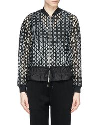 3.1 Phillip Lim Caning Embroidery Drawstring Hem Bomber Jacket black - Lyst