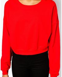 American Apparel Red Boxy Sweatshirt - Lyst