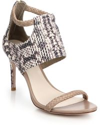 Cole Haan Lise Braided-Strap Snake-Embossed Leather Sandals brown - Lyst