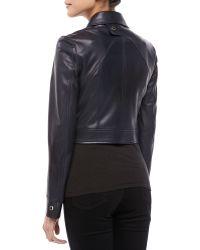 Michael Kors Plonge Leather Cropped Moto Jacket - Lyst