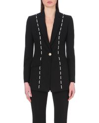 Versace Contrast-Stitched Silk Jacket - Lyst