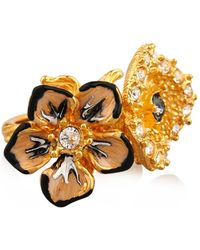 Alexander McQueen Cherry Blossom Resin And Brass Ring - Lyst