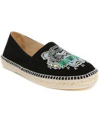 KENZO | Black Embroidered Tiger Logo Espadrilles | Lyst