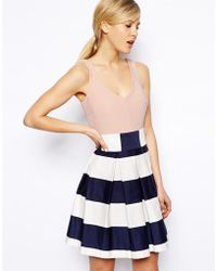 Asos Stripe Skirt Skater Dress - Lyst