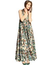 Yvonne S Organic Cotton Camouflage Long Dress - Lyst