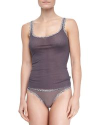 Cosabella Celine Leopardtrim Camisole Anthracite Anthracte-leopard Small - Lyst
