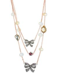Betsey Johnson Rose Goldtone Crystal Bow Illusion Necklace - Lyst