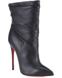 Christian Louboutin Ishtar Ruched Leather Ankle Boots - Lyst