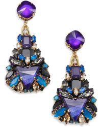 Erickson Beamon Talitha Crystal Clustered Teardrop Earrings blue - Lyst