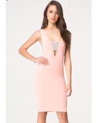 Bebe Stone Cutout Midi Dress - Lyst