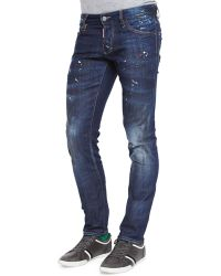 DSquared2 Distressed Slim Leg Jeans - Lyst