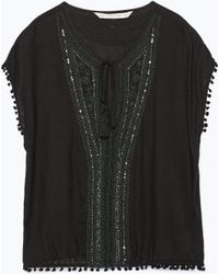 Zara Tassel Sleeve Embroidered Blouse - Lyst
