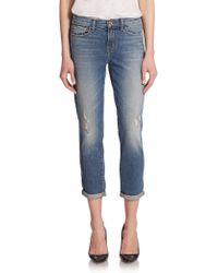 J Brand Georgia Mid-Rise Distressed Boy-Fit Jeans blue - Lyst