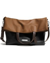 Coach Thompson Foldover Tote in Colorblock Leather black - Lyst