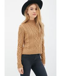 Forever 21 Cable Knit Mock-Neck Sweater - Lyst