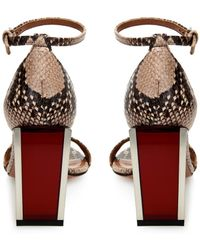 Sportmax - Snake-Effect Leather Block Sandals - Lyst