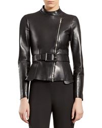 Gucci Black Leather Zipfront Jacket - Lyst