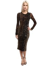 Jean Paul Gaultier Panther Tulle with Flocking Long Sleeve Sheath Dress - Lyst